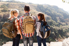 Friends top mountain Stock Photography