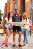 Friends tourists Stock Photos
