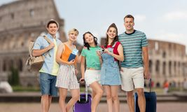 Friends with travel bags, air ticket and camera stock photography