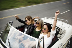 Friends Travel on Road Trip Together. Group of Diverse Friends Travel on Road Trip Together stock image