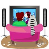 Friends and TV. Man and cat are watching TV royalty free illustration
