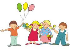 Friends. Two boys with ice cream and balloons and two girls with flowers Royalty Free Stock Photography