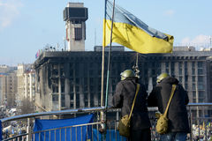 Friends. Two man on Independence square of Kiev. Revolution time Stock Images