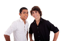 Friends: two young man of different colors,looking Royalty Free Stock Image