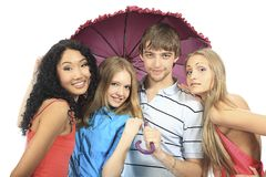 Friends with umbrella Stock Images