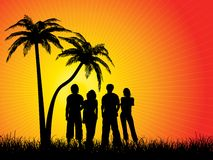 Free Friends Under Palm Trees Royalty Free Stock Photo - 4533225