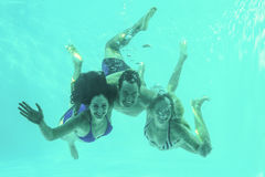 Friends underwater in swimming pool stock photography