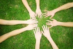 Friends united. Group of friends joining hands. Unity, teamwork concept Stock Photos