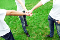 Friends united. Group of friends joining hands. Unity, teamwork concept Stock Photography