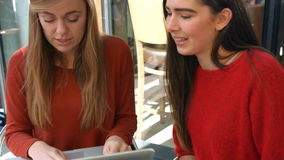 Friends using laptop in the cafe. In high quality format stock footage