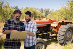 Friends using laptop in farm Royalty Free Stock Image