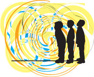 Friends. Vector. Vector illustration of boys watching something Stock Image