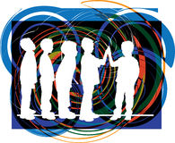 Friends. Vector. Vector illustration of boys playing with abstract background Royalty Free Stock Photos