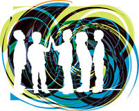 Friends. Vector. Vector illustration of boys playing with abstract background Stock Photography