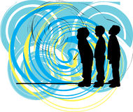 Friends. Vector illustration. Abstract drawing of kids with a cool background. Vector illustration Royalty Free Stock Photo