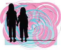 Friends. Vector illustration. Abstract drawing of kids with a cool background. Vector illustration Royalty Free Stock Photography