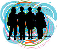 Friends. Vector illustration. Abstract drawing of kids with a cool background. Vector illustration Stock Photography