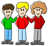 Friends. Vector illustration of three cartoon friends royalty free illustration