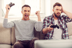 Friends and video games. Stock Images