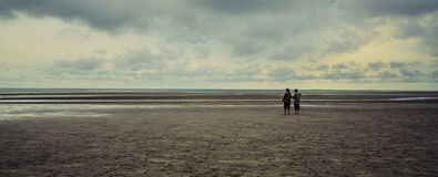 Friends walking on the beach Stock Images
