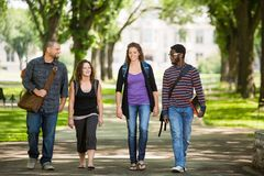 Friends Walking On Campus Road Stock Photos