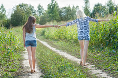 Friends walking on country road together Royalty Free Stock Photo