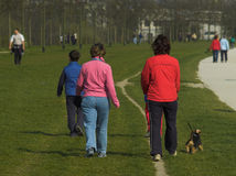 Friends Walking Puppy Royalty Free Stock Photo