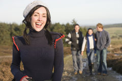 Friends walking on rural path.  royalty free stock photo