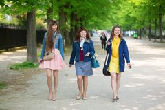 Friends walking together in Paris Stock Images