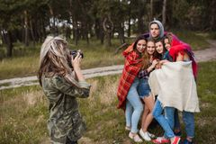 Friends warm together photoshoot nature concept. Royalty Free Stock Photo