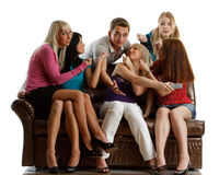 Friends watch TV. Stock Photography