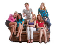 Friends watch TV. Royalty Free Stock Image