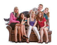 Friends watch TV. Royalty Free Stock Images