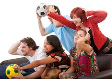 Friends watching football Royalty Free Stock Photography