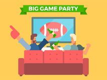 Friends watching a football game on tv vector illustration