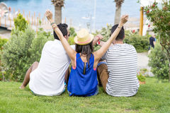 Friends watching the sea on summer sea vacation Royalty Free Stock Photos