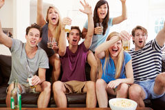 Friends Watching Sport Celebrating Goal Royalty Free Stock Image