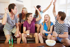 Friends Watching Sport Celebrating Goal Royalty Free Stock Photo