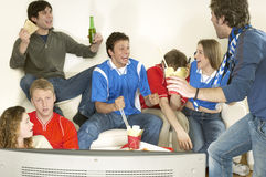 Friends Watching Television And Celebrating Royalty Free Stock Photography