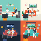 Friends watching TV program in the living room Stock Photo