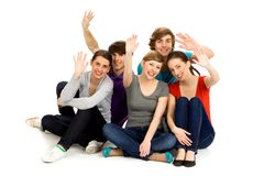 Friends waving Royalty Free Stock Images