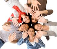 Friends waving Royalty Free Stock Photos