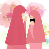 Friends wear veil scarf islam cover face two woman girl. Vector Royalty Free Stock Photography