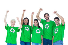 Friends wearing recycling tshirts Royalty Free Stock Photo