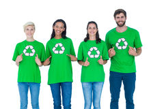 Friends wearing recycling tshirts Stock Photo