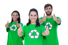 Friends wearing recycling tshirts Royalty Free Stock Photography