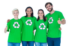 Friends wearing recycling tshirts Stock Photography