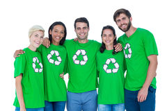 Friends wearing recycling tshirts Stock Photos