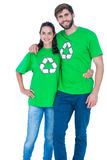 Friends wearing recycling tshirts Stock Images