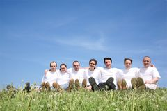 Friends in white T-shorts Royalty Free Stock Image